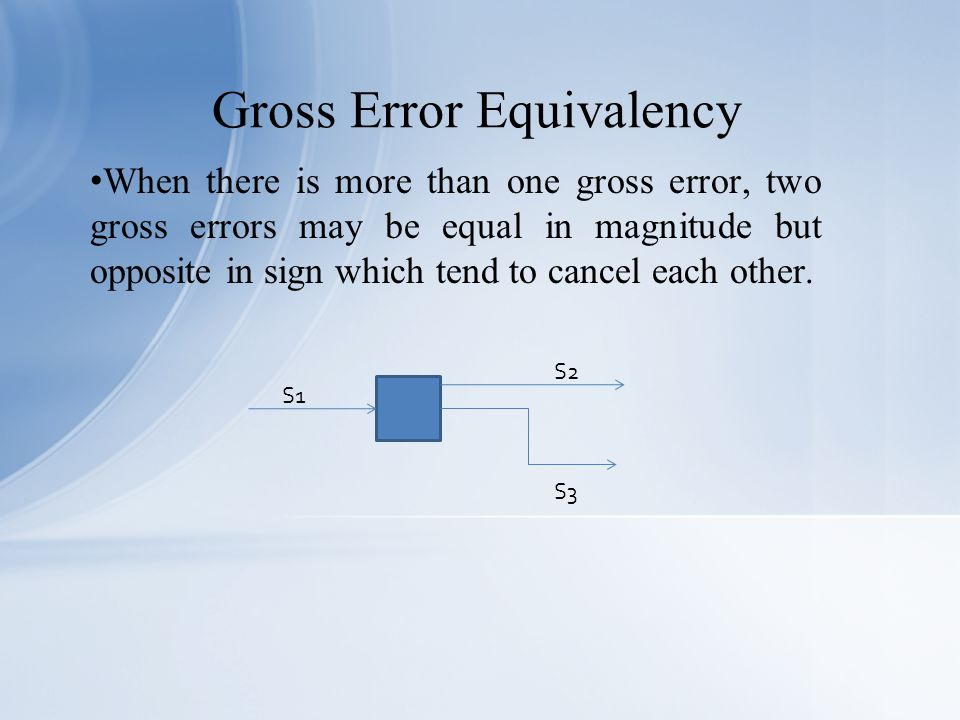 When there is more than one gross error, two gross errors may be equal in magnitude but opposite in sign which tend to cancel each other.