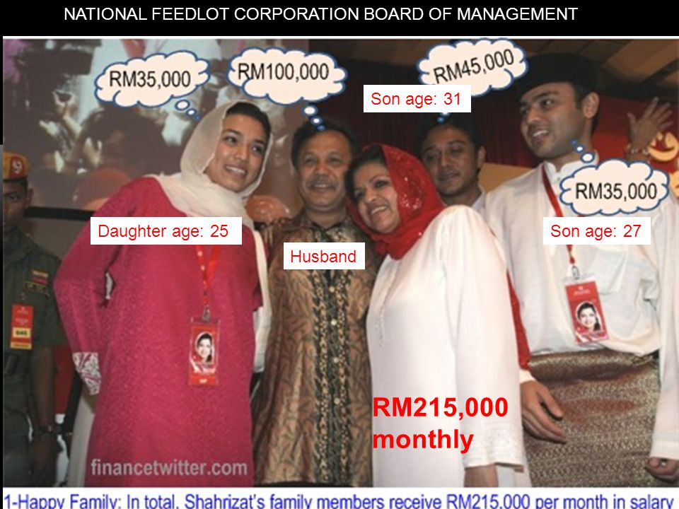16 NATIONAL FEEDLOT CORPORATION BOARD OF MANAGEMENT Daughter age: 25Son age: 27 Son age: 31 Husband RM215,000 monthly