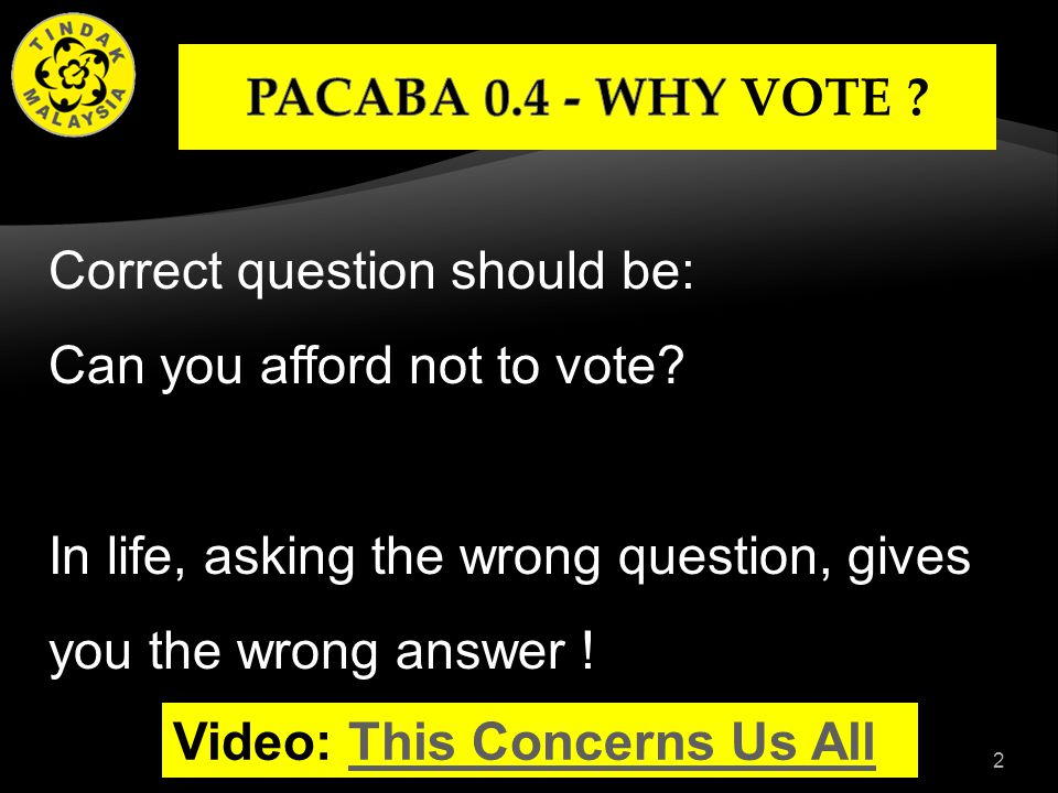 2 Correct question should be: Can you afford not to vote.