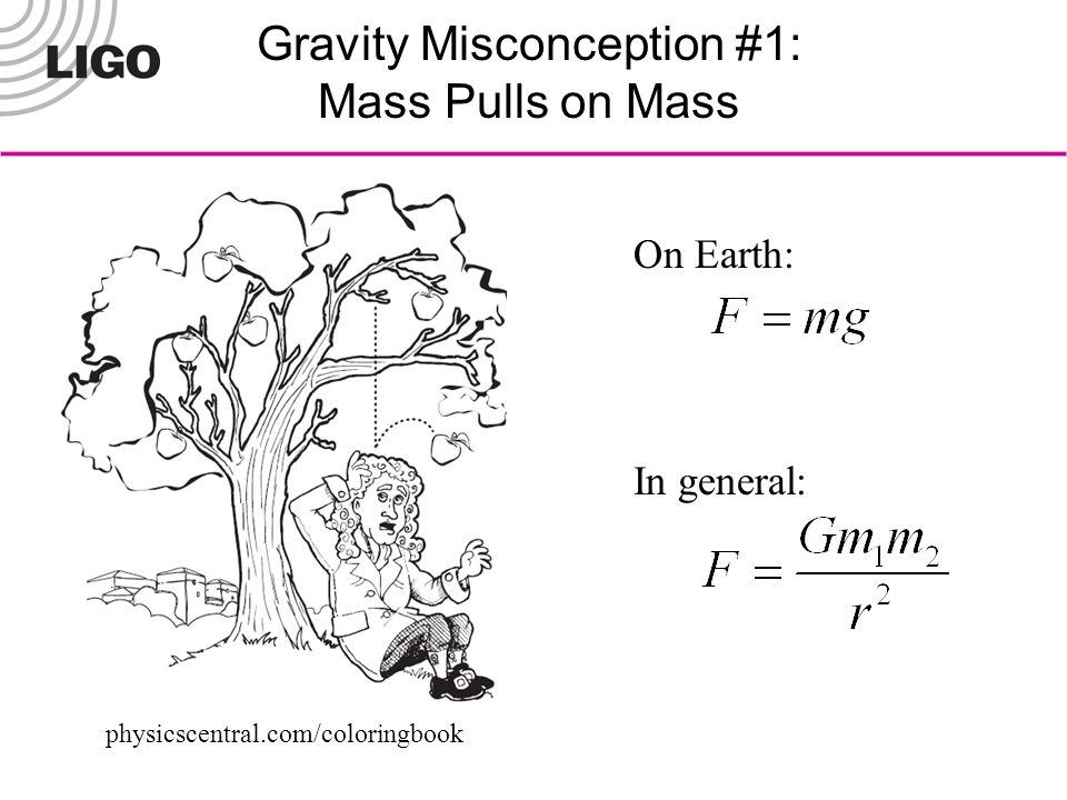 Gravity Misconception #1: Mass Pulls on Mass physicscentral.com/coloringbook On Earth: In general: