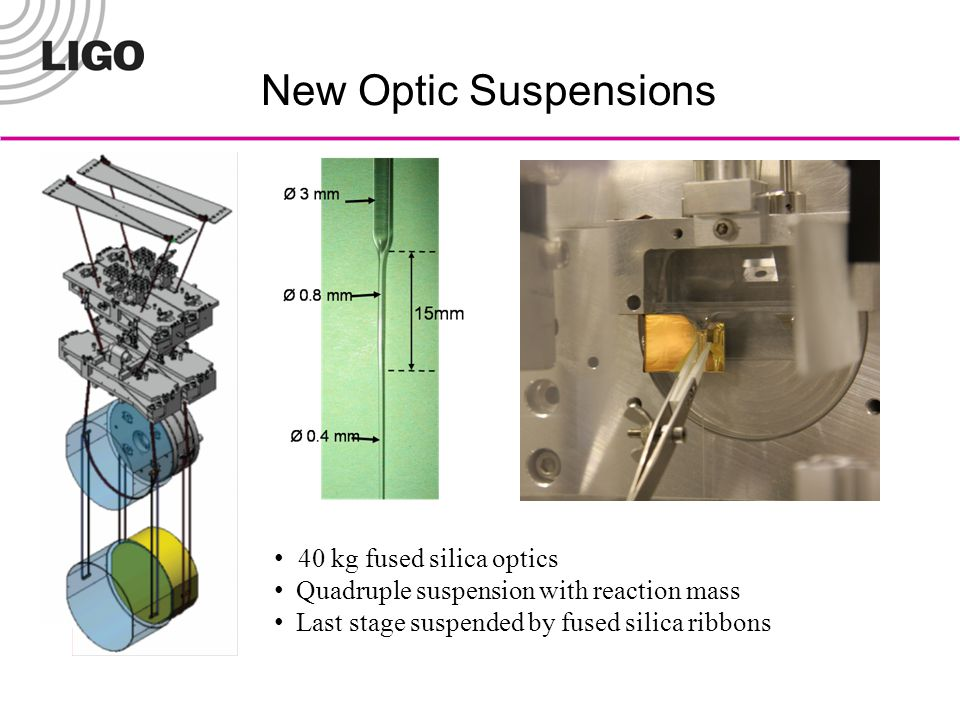 New Optic Suspensions 40 kg fused silica optics Quadruple suspension with reaction mass Last stage suspended by fused silica ribbons
