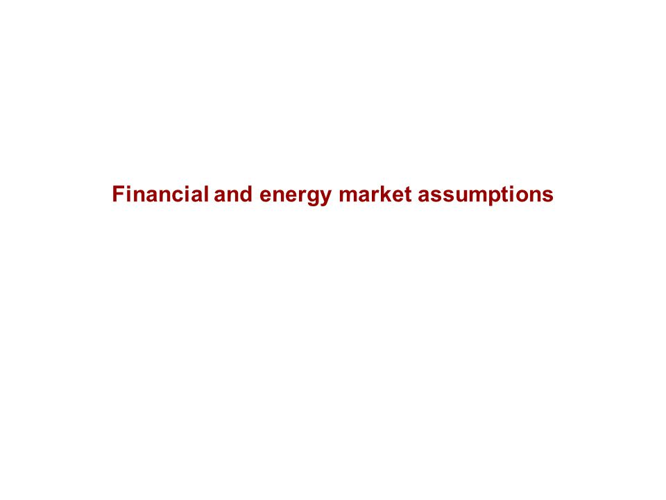 Financial and energy market assumptions