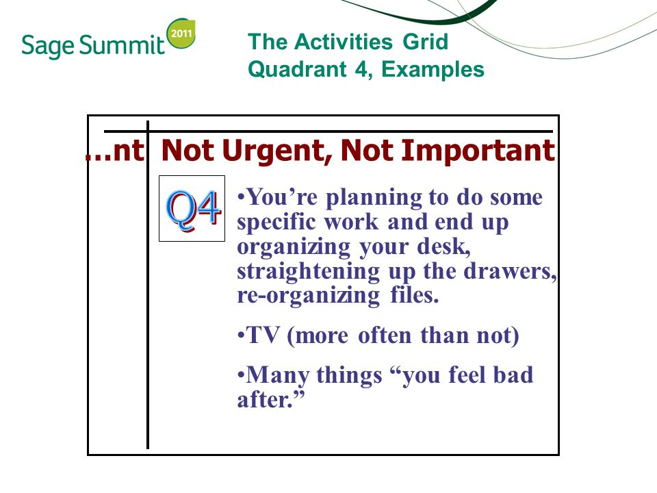 The Activities Grid Quadrant 4, Examples …nt Not Urgent, Not Important You're planning to do some specific work and end up organizing your desk, straightening up the drawers, re-organizing files.