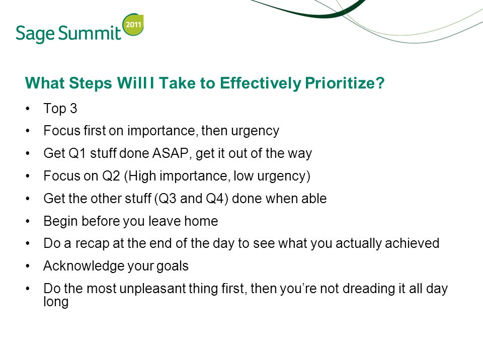 What Steps Will I Take to Effectively Prioritize.