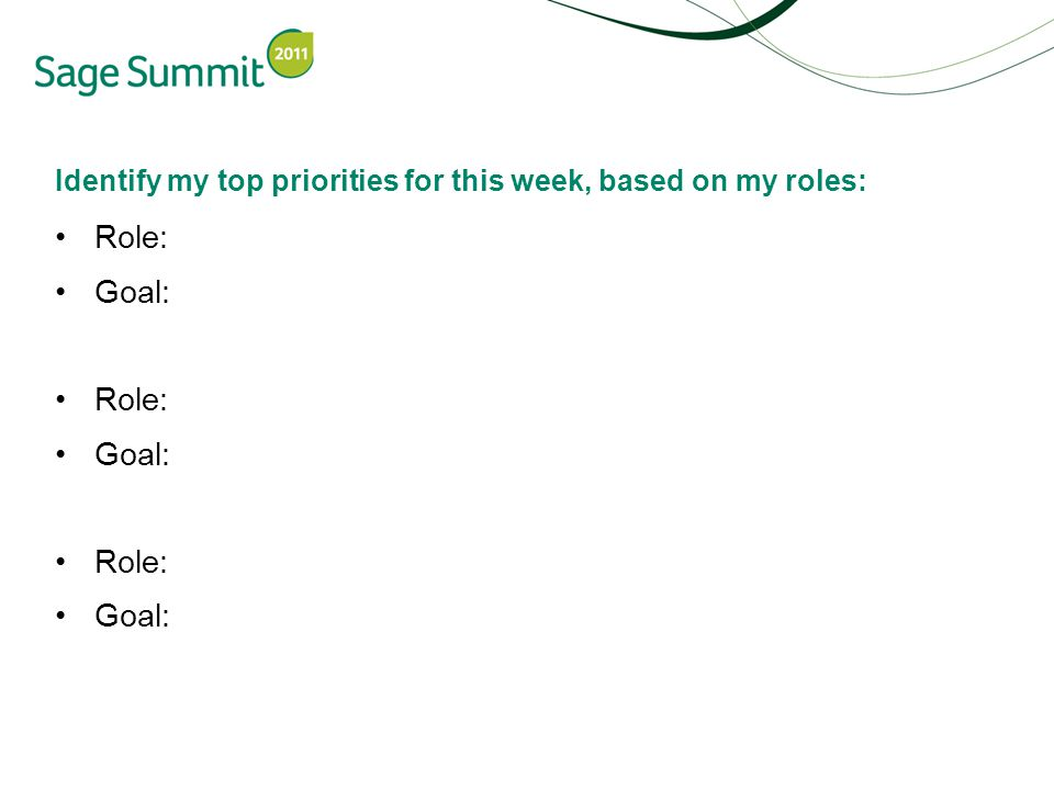 Identify my top priorities for this week, based on my roles: Role: Goal: Role: Goal: Role: Goal: