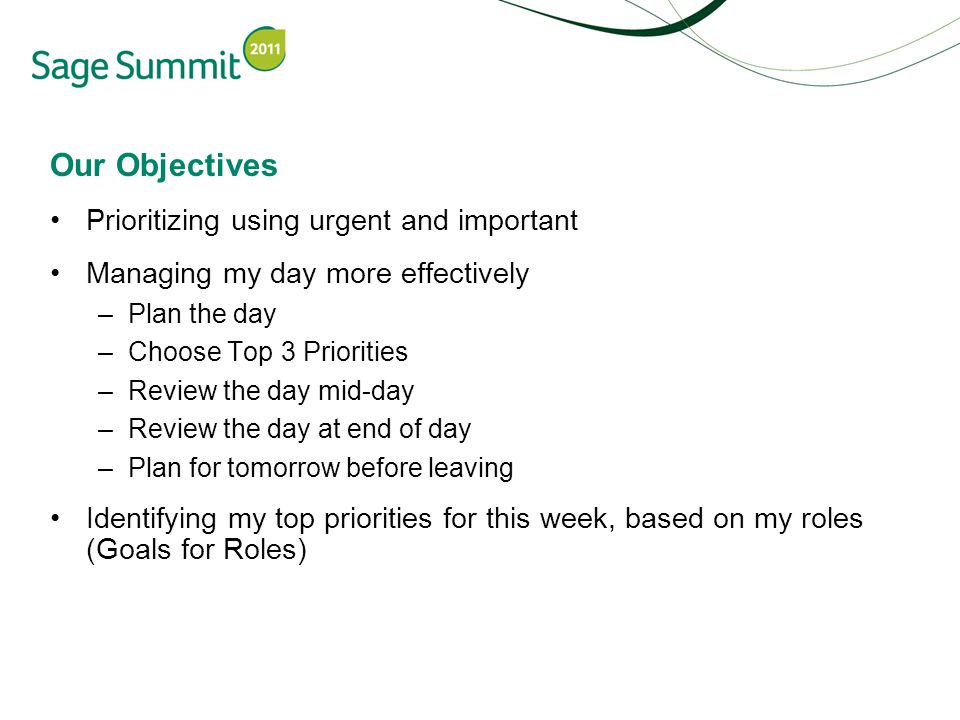 Our Objectives Prioritizing using urgent and important Managing my day more effectively –Plan the day –Choose Top 3 Priorities –Review the day mid-day –Review the day at end of day –Plan for tomorrow before leaving Identifying my top priorities for this week, based on my roles (Goals for Roles)
