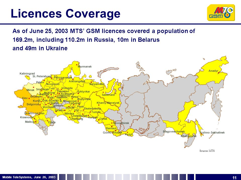 11 Mobile TeleSystems, June 26, 2003 Licences Coverage As of June 25, 2003 MTS' GSM licences covered a population of 169.2m, including 110.2m in Russia, 10m in Belarus and 49m in Ukraine # Moscow Yaroslavl N.