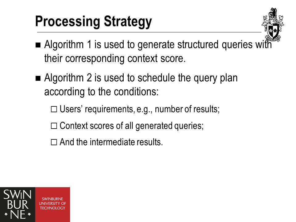 Processing Strategy Algorithm 1 is used to generate structured queries with their corresponding context score.