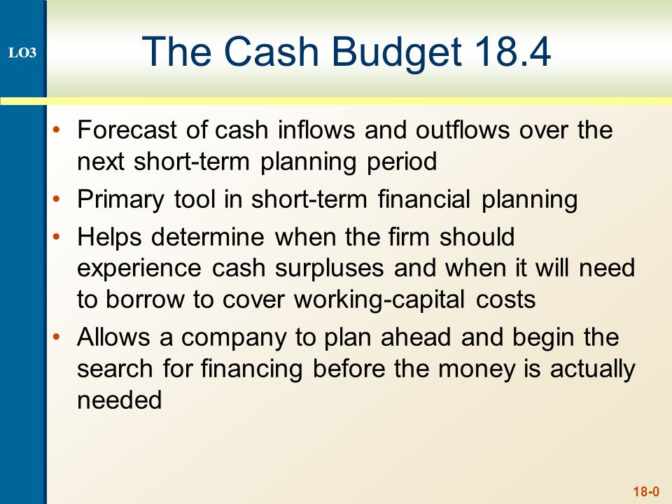18-0 The Cash Budget 18.4 Forecast of cash inflows and outflows over the next short-term planning period Primary tool in short-term financial planning Helps determine when the firm should experience cash surpluses and when it will need to borrow to cover working-capital costs Allows a company to plan ahead and begin the search for financing before the money is actually needed LO3