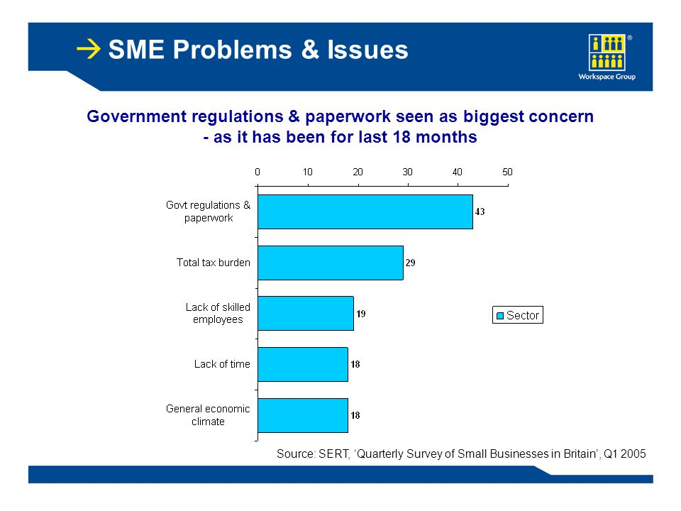SME Problems & Issues Government regulations & paperwork seen as biggest concern - as it has been for last 18 months Source: SERT, 'Quarterly Survey of Small Businesses in Britain', Q1 2005