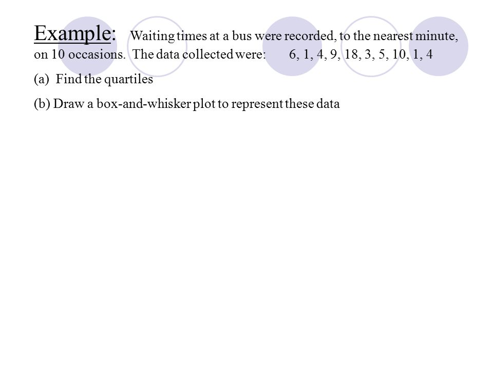 Example: Waiting times at a bus were recorded, to the nearest minute, on 10 occasions.