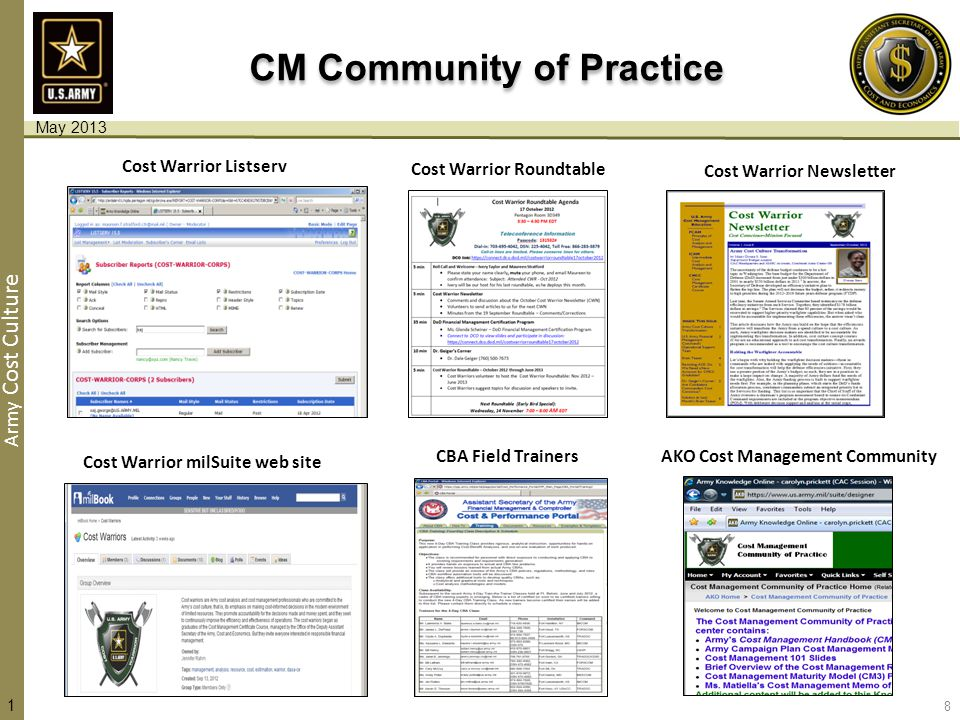 Army Cost Culture CM Community of Practice AKO Cost Management Community Cost Warrior Newsletter Cost Warrior milSuite web site Cost Warrior Roundtable Cost Warrior Listserv CBA Field Trainers 8 1 May 2013