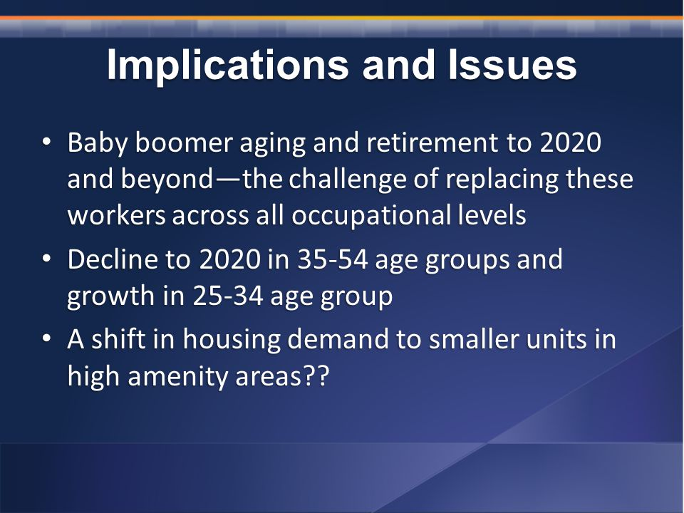 Implications and Issues Baby boomer aging and retirement to 2020 and beyond—the challenge of replacing these workers across all occupational levels Baby boomer aging and retirement to 2020 and beyond—the challenge of replacing these workers across all occupational levels Decline to 2020 in age groups and growth in age group Decline to 2020 in age groups and growth in age group A shift in housing demand to smaller units in high amenity areas .