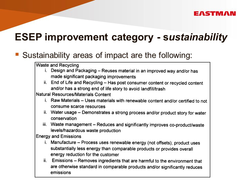 ESEP improvement category - sustainability  Sustainability areas of impact are the following:
