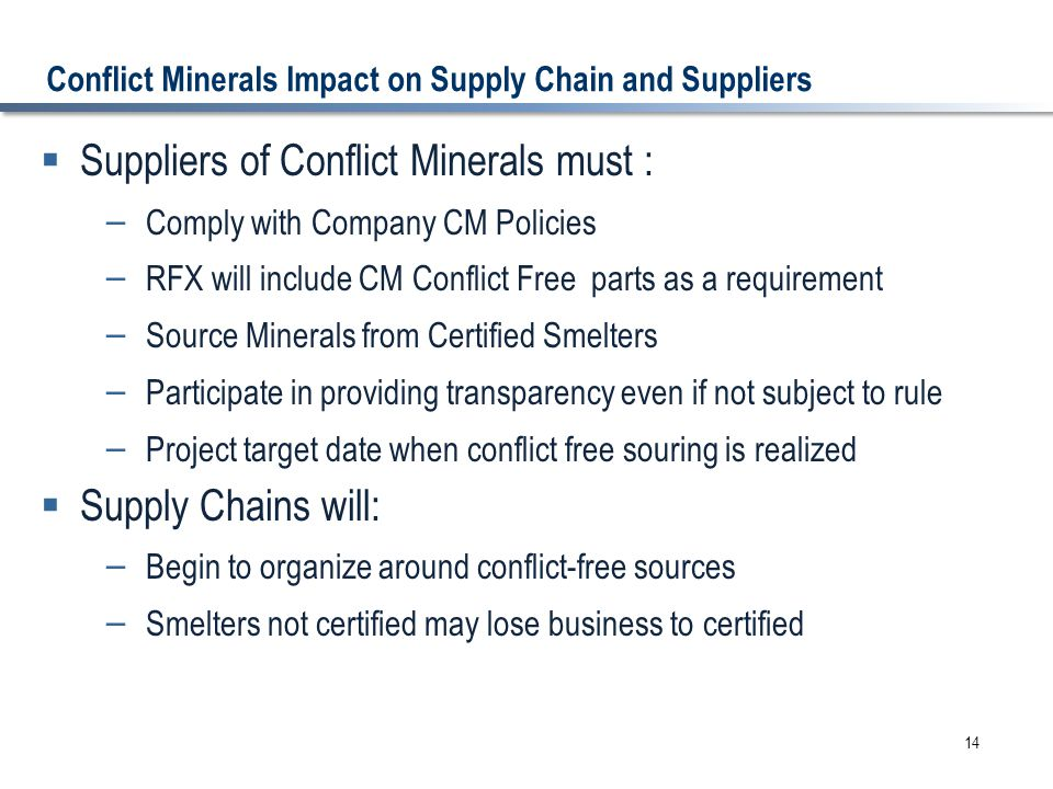 Conflict Minerals Impact on Supply Chain and Suppliers  Suppliers of Conflict Minerals must : – Comply with Company CM Policies – RFX will include CM Conflict Free parts as a requirement – Source Minerals from Certified Smelters – Participate in providing transparency even if not subject to rule – Project target date when conflict free souring is realized  Supply Chains will: – Begin to organize around conflict-free sources – Smelters not certified may lose business to certified 14
