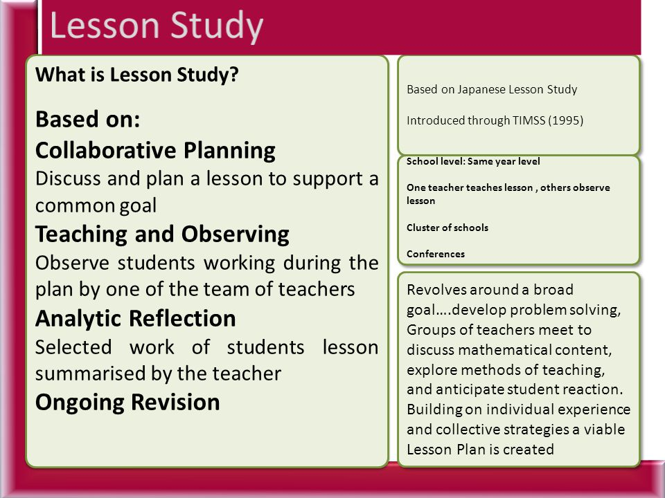 Based on Japanese Lesson Study Introduced through TIMSS (1995) Based on Japanese Lesson Study Introduced through TIMSS (1995) Revolves around a broad goal….develop problem solving, Groups of teachers meet to discuss mathematical content, explore methods of teaching, and anticipate student reaction.