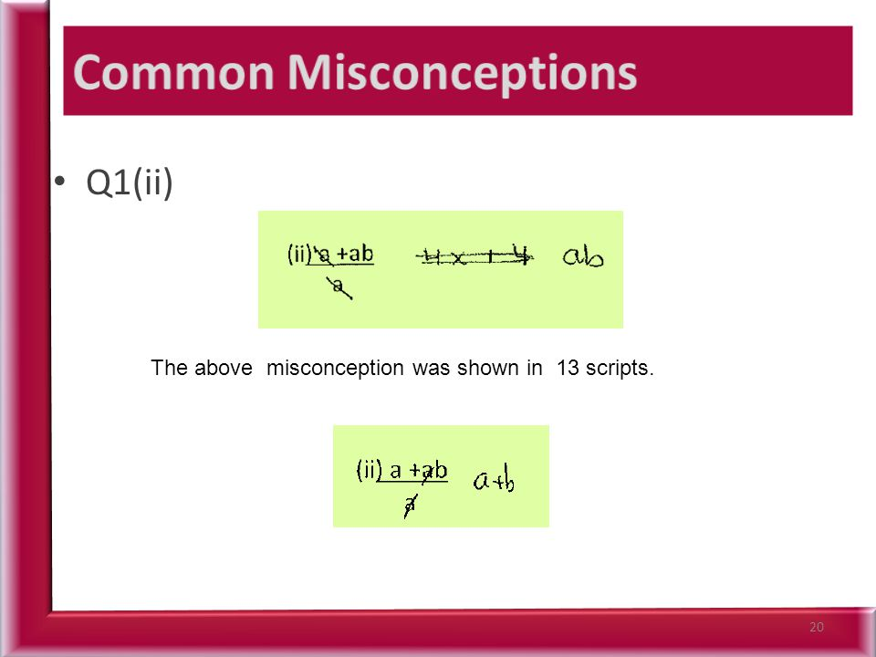 Q1(ii) 20 The above misconception was shown in 13 scripts.