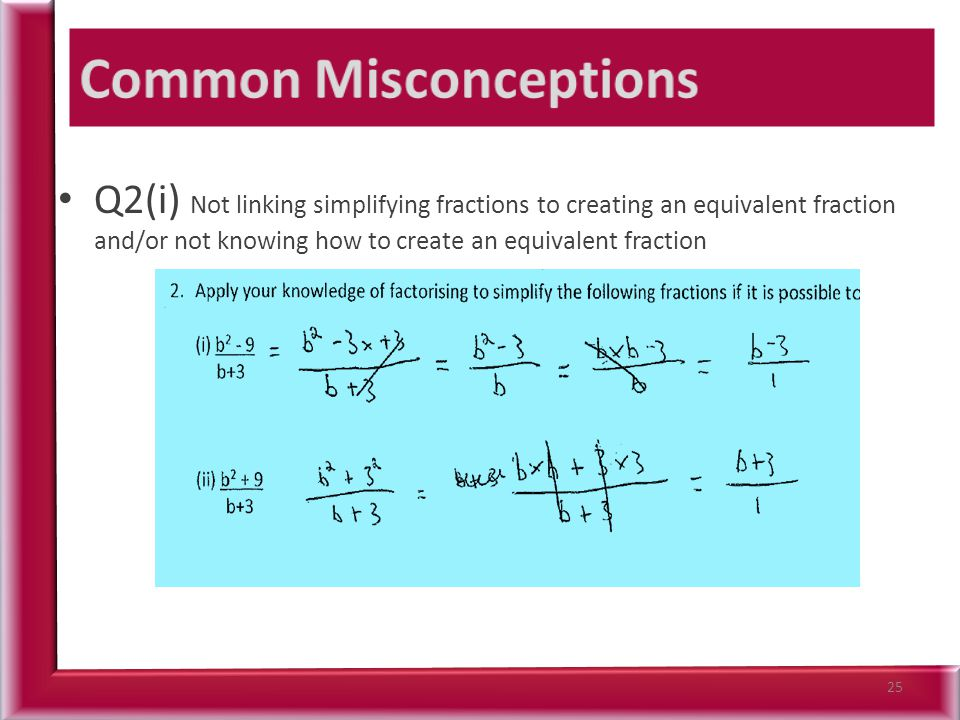 Q2(i) Not linking simplifying fractions to creating an equivalent fraction and/or not knowing how to create an equivalent fraction 25