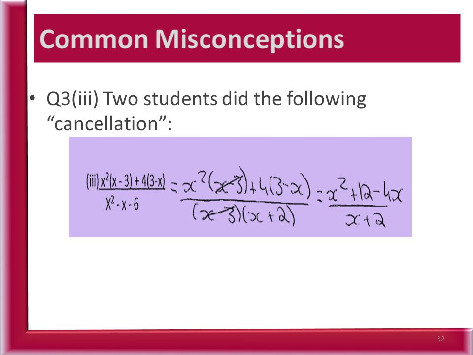 Q3(iii) Two students did the following cancellation : 32