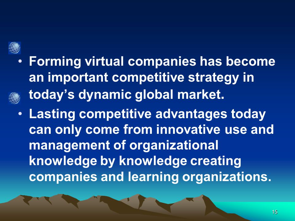 15 Forming virtual companies has become an important competitive strategy in today's dynamic global market.