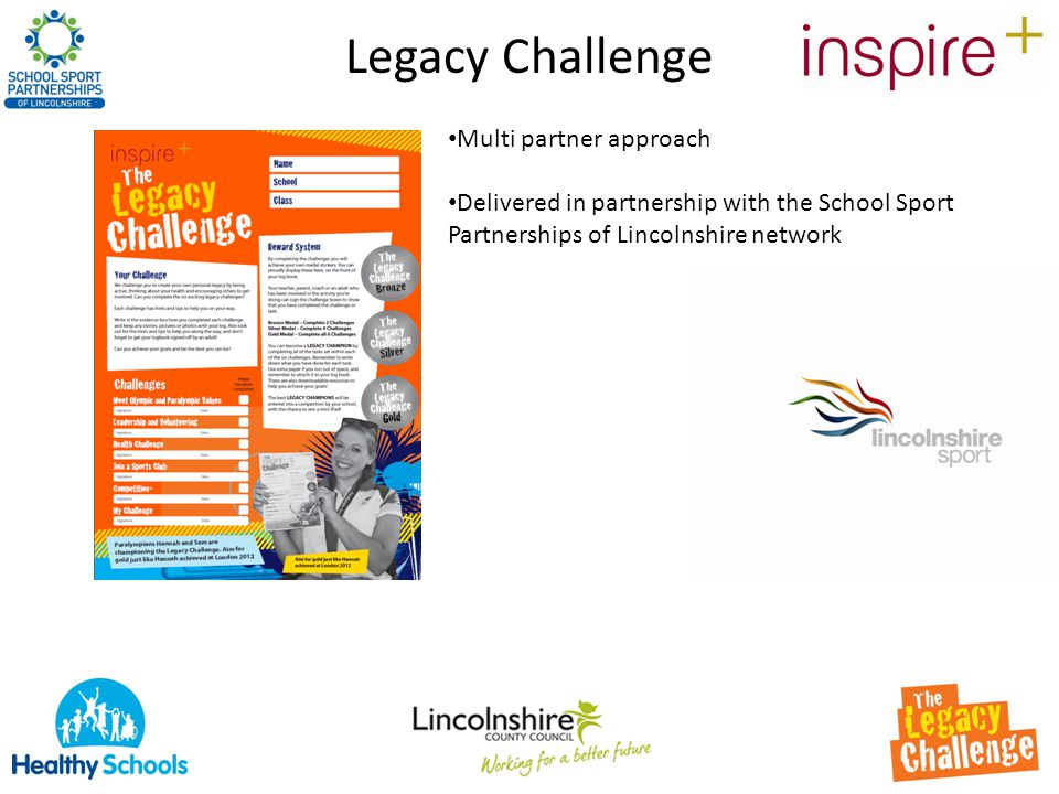 Legacy Challenge Multi partner approach Delivered in partnership with the School Sport Partnerships of Lincolnshire network