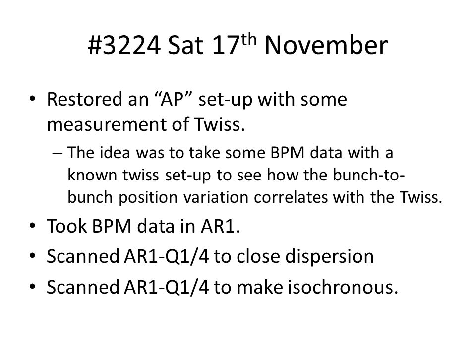#3224 Sat 17 th November Restored an AP set-up with some measurement of Twiss.