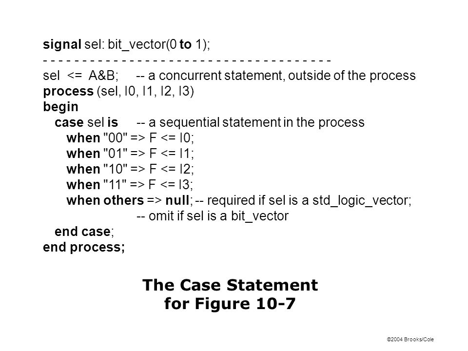 ©2004 Brooks/Cole signal sel: bit_vector(0 to 1); - - - - - - - - - - - - - - - - - - - - - - - - - - - - - - - - - - - - - sel <= A&B; -- a concurrent statement, outside of the process process (sel, I0, I1, I2, I3) begin case sel is-- a sequential statement in the process when 00 => F <= I0; when 01 => F <= I1; when 10 => F <= I2; when 11 => F <= I3; when others => null;-- required if sel is a std_logic_vector; -- omit if sel is a bit_vector end case; end process; The Case Statement for Figure 10-7