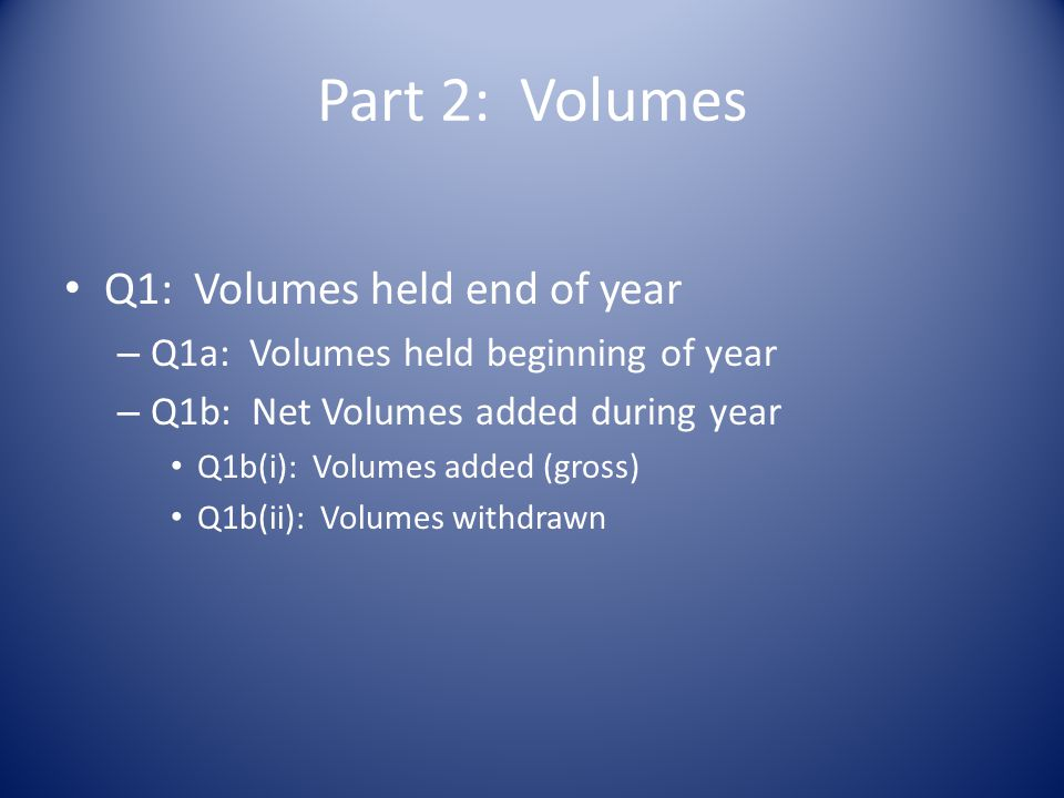 Part 2: Volumes Q1: Volumes held end of year – Q1a: Volumes held beginning of year – Q1b: Net Volumes added during year Q1b(i): Volumes added (gross) Q1b(ii): Volumes withdrawn