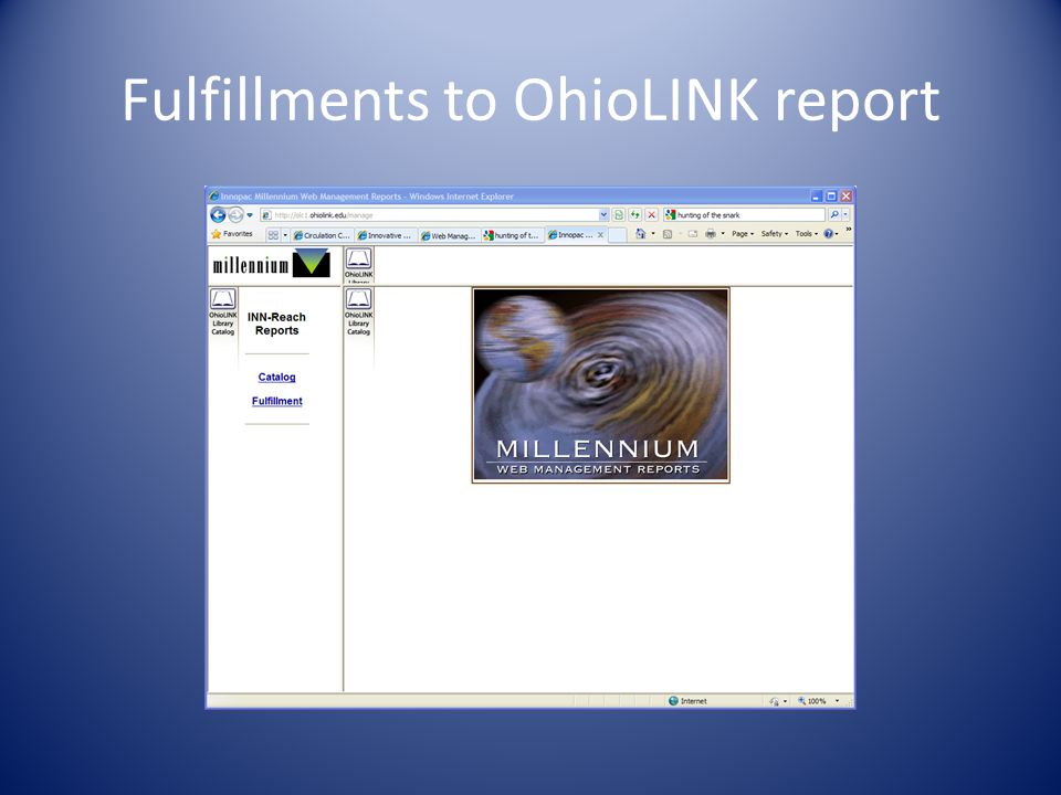 Fulfillments to OhioLINK report