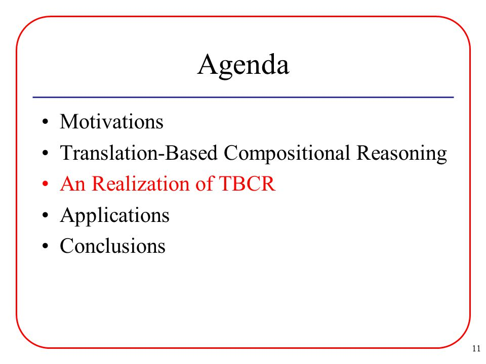 11 Agenda Motivations Translation-Based Compositional Reasoning An Realization of TBCR Applications Conclusions