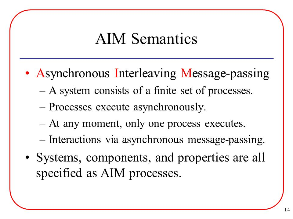 14 AIM Semantics Asynchronous Interleaving Message-passing –A system consists of a finite set of processes.