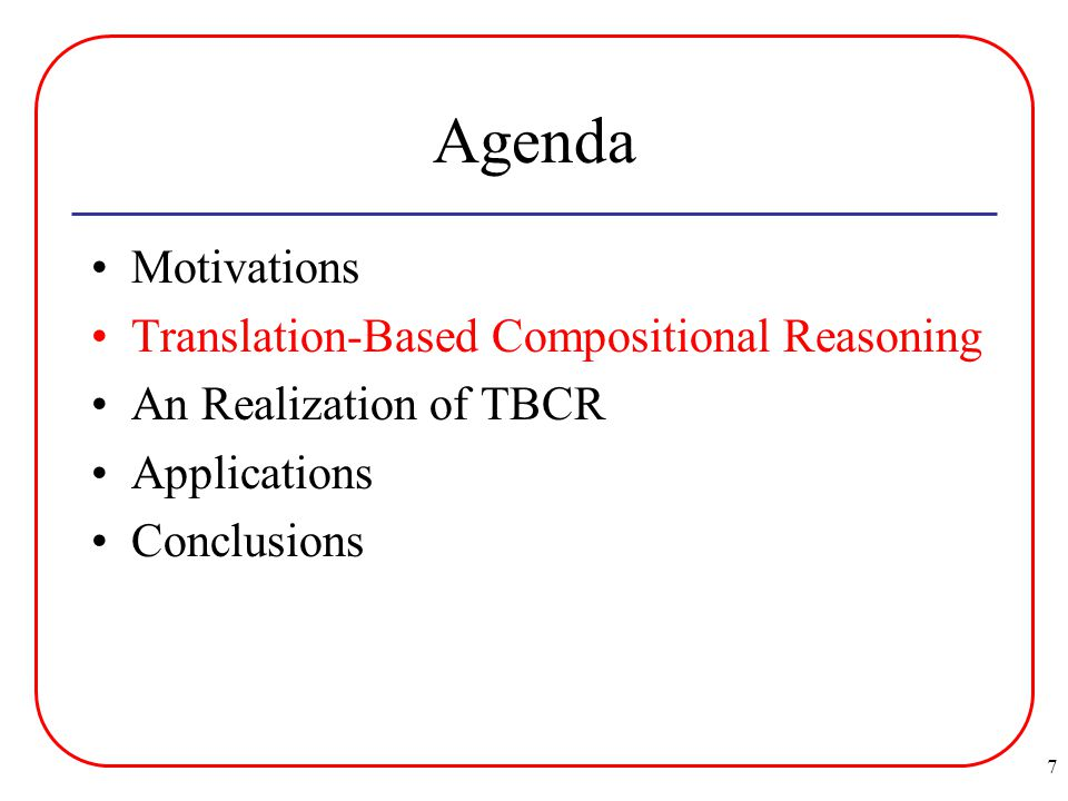 7 Agenda Motivations Translation-Based Compositional Reasoning An Realization of TBCR Applications Conclusions