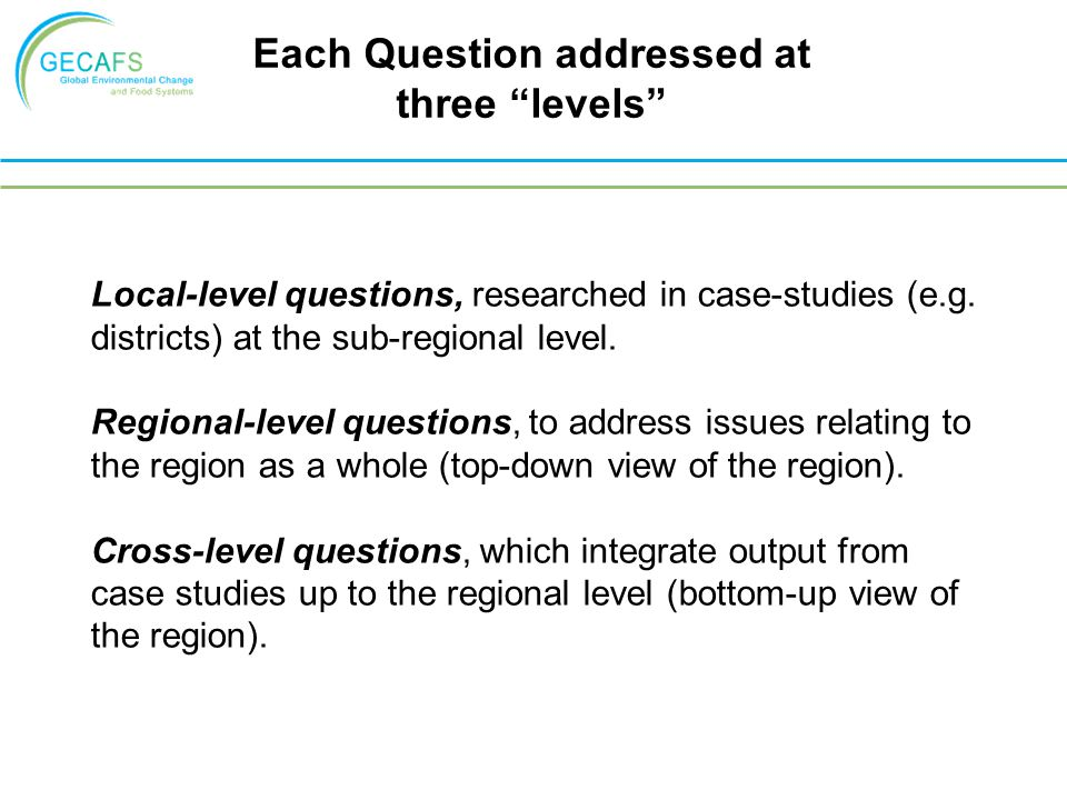 Local-level questions, researched in case-studies (e.g.