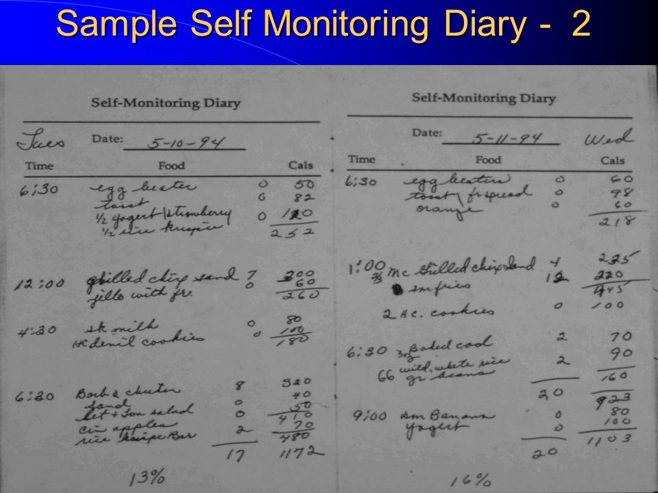 Sample Self Monitoring Diary - 1