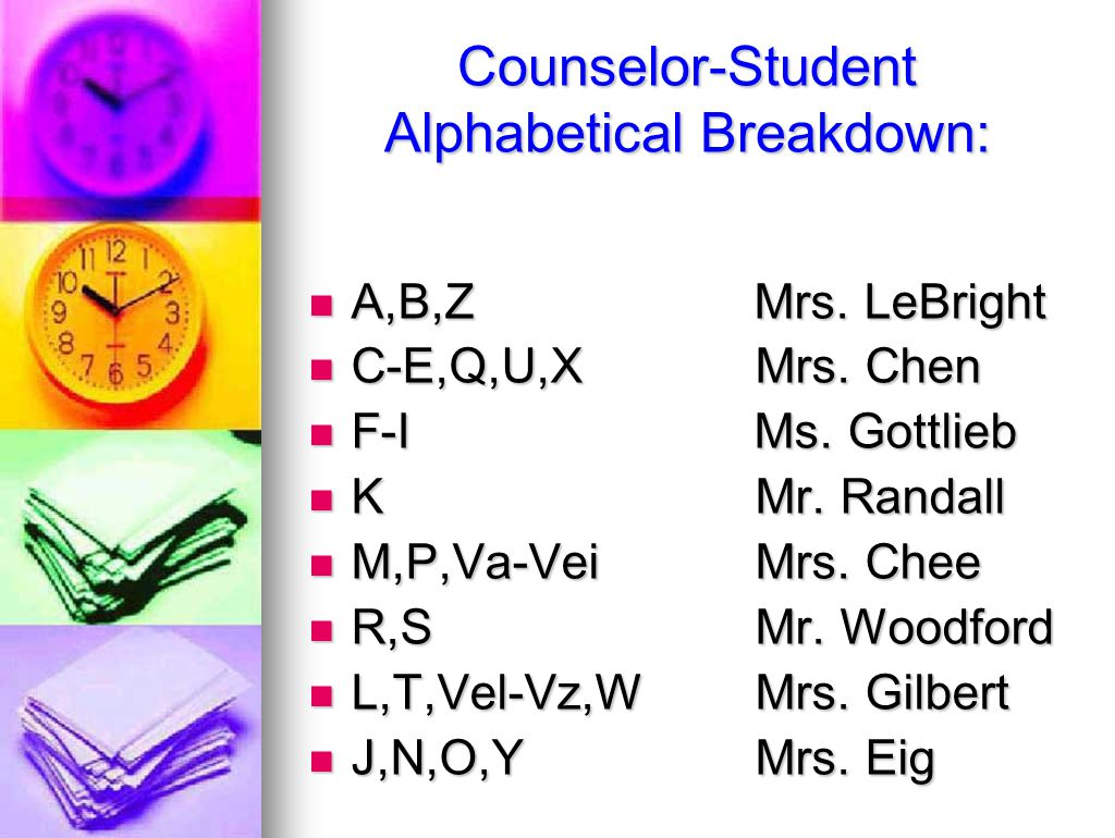Counselor-Student Alphabetical Breakdown: A,B,Z Mrs.