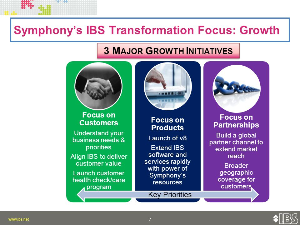 7 7 Symphony's IBS Transformation Focus: Growth 3 M AJOR G ROWTH I NITIATIVES Focus on Customers Understand your business needs & priorities Align IBS to deliver customer value Launch customer health check/care program Focus on Products Launch of v8 Extend IBS software and services rapidly with power of Symphony's resources Focus on Partnerships Build a global partner channel to extend market reach Broader geographic coverage for customers Key Priorities