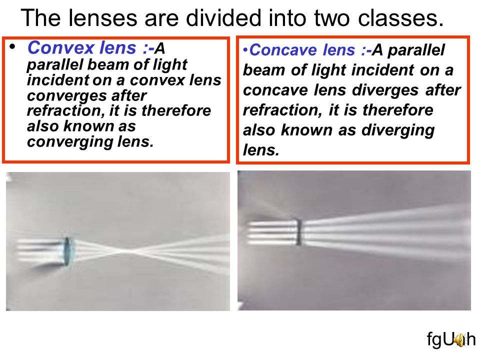 Any transparent material bound with two surfaces of different curvature form a lens.