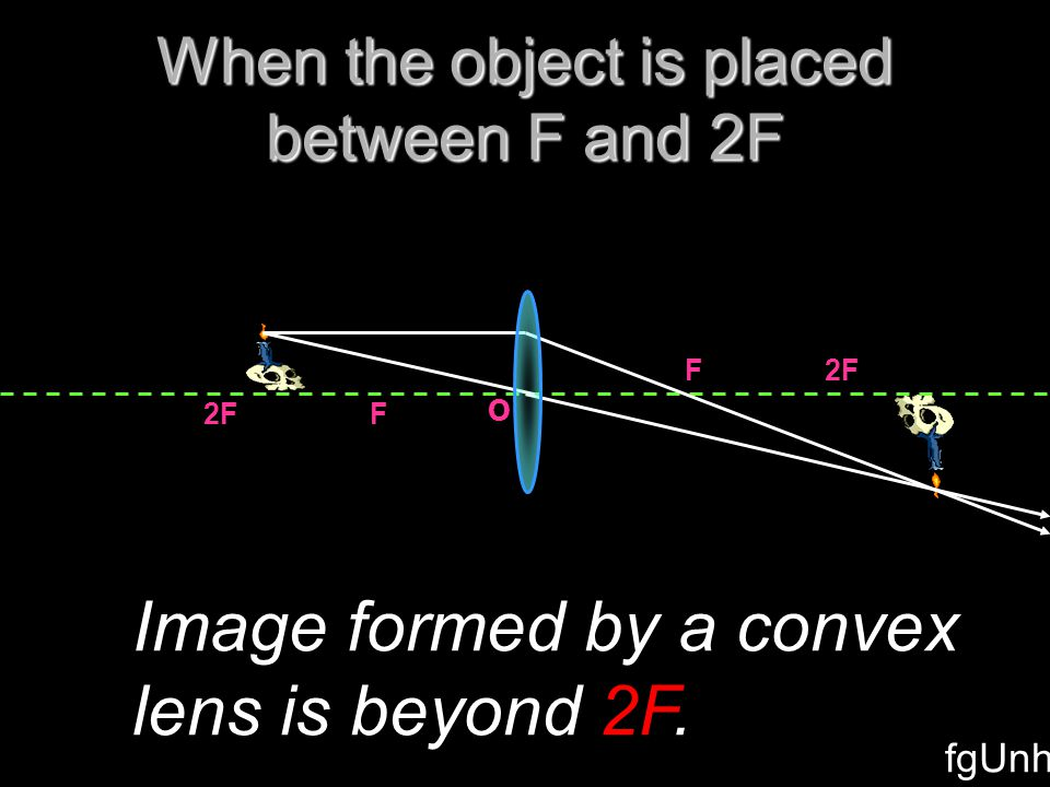 2F F F O When the object is placed at 2F Image formed by a convex lens is at the same distance means 2F.