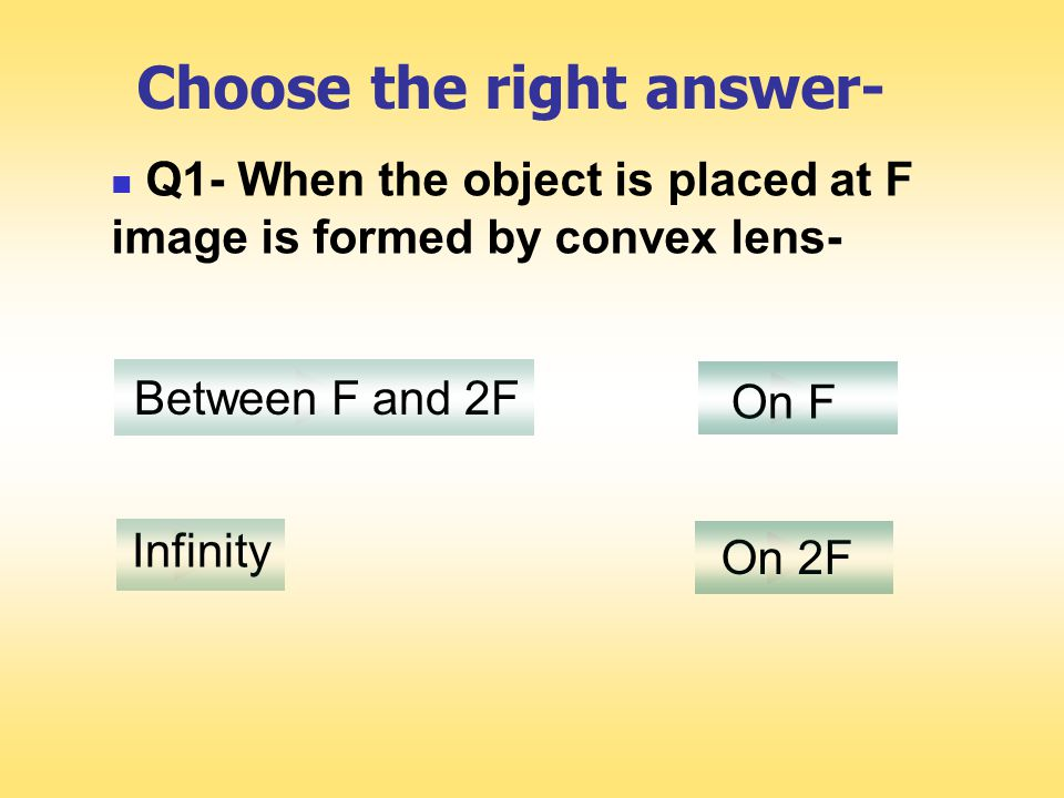 F2F F O When the object is placed at F Image formed by a convex lens is at infinity.
