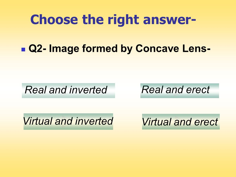 O F2F F Image formed by a concave lens Image formed by a concave lens is always virtual irrespective of the position of the object.