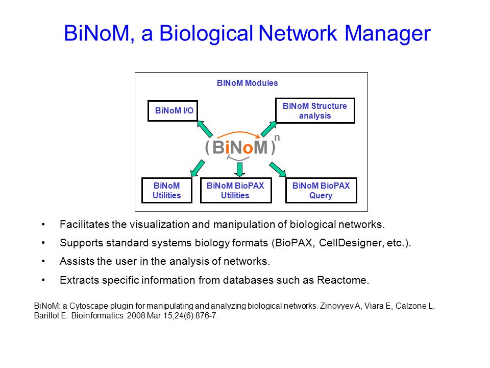 BiNoM, a Biological Network Manager Facilitates the visualization and manipulation of biological networks.