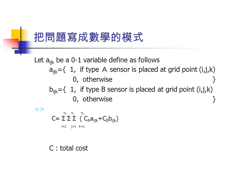 把問題寫成數學的模式 Let a ijk be a 0-1 variable define as follows a ijk ={ 1, if type A sensor is placed at grid point (i,j,k) 0, otherwise } b ijk ={ 1, if type B sensor is placed at grid point (i,j,k) 0, otherwise } => C : total cost i=1j=1k=1 nxnx nyny nznz C= Σ Σ Σ ( C A a ijk +C B b ijk )