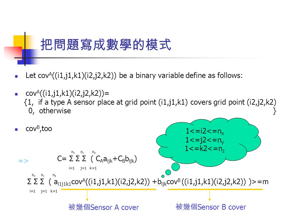 把問題寫成數學的模式 Let cov A ((i1,j1,k1)(i2,j2,k2)) be a binary variable define as follows: cov A ((i1,j1,k1)(i2,j2,k2))= {1, if a type A sensor place at grid point (i1,j1,k1) covers grid point (i2,j2,k2) 0, otherwise } cov B,too i=1j=1k=1 nxnx nyny nznz C= Σ Σ Σ ( C A a ijk +C B b ijk ) i=1j=1k=1 nxnx nyny nznz Σ Σ Σ ( a i1j1k1 cov A ((i1,j1,k1)(i2,j2,k2)) +b ijk cov B ((i1,j1,k1)(i2,j2,k2)) )>=m 被幾個 Sensor A cover 被幾個 Sensor B cover => 1<=i2<=n x 1<=j2<=n y 1<=k2<=n z
