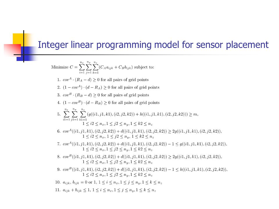 Integer linear programming model for sensor placement