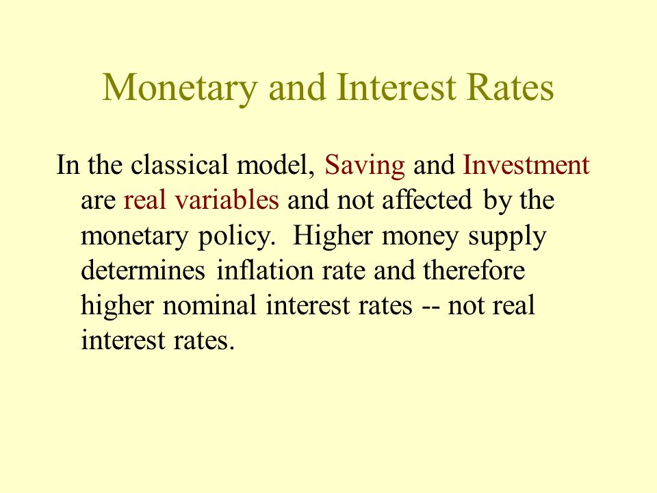 Monetary and Interest Rates In the classical model, Saving and Investment are real variables and not affected by the monetary policy.