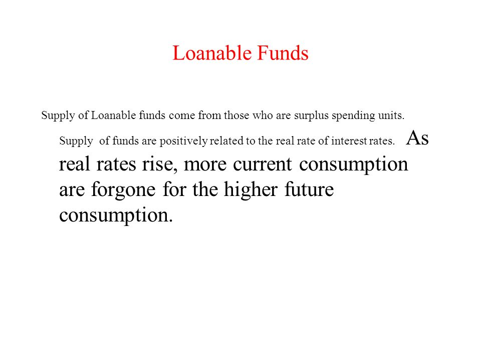 Loanable Funds Supply of Loanable funds come from those who are surplus spending units.