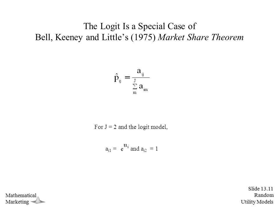 Slide 13.11 Random Utility Models MathematicalMarketing The Logit Is a Special Case of Bell, Keeney and Little's (1975) Market Share Theorem a i1 = and a i2 = 1 For J = 2 and the logit model,