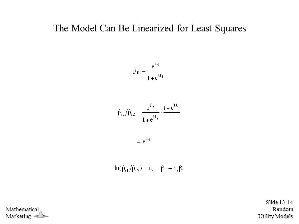 Slide 13.14 Random Utility Models MathematicalMarketing The Model Can Be Linearized for Least Squares