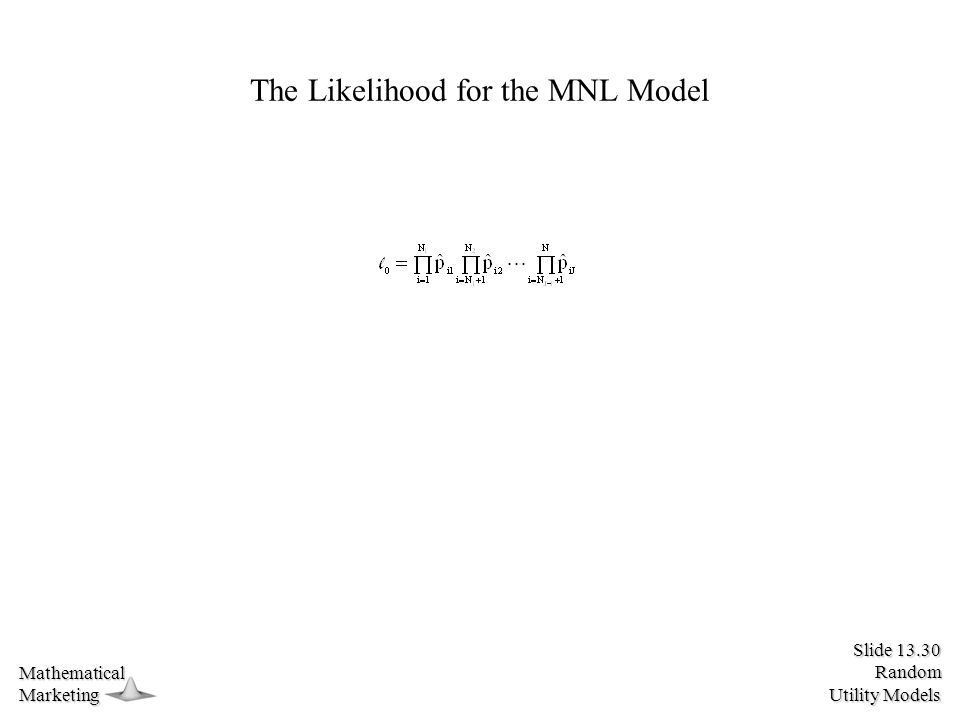 Slide 13.30 Random Utility Models MathematicalMarketing The Likelihood for the MNL Model