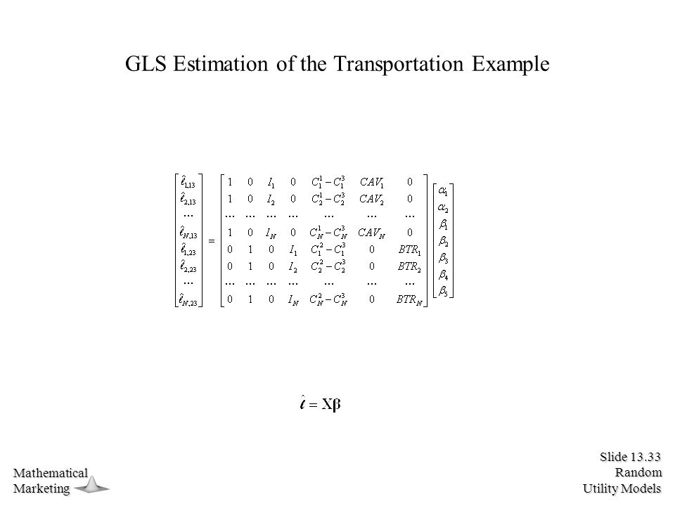 Slide 13.33 Random Utility Models MathematicalMarketing GLS Estimation of the Transportation Example